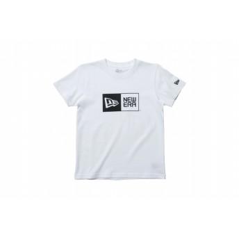 【ニューエラ公式】キッズ コットン Tシャツ ボックスロゴ ホワイト × ブラック 男の子 女の子 140 半袖 Tシャツ 11900251 NEW ERA