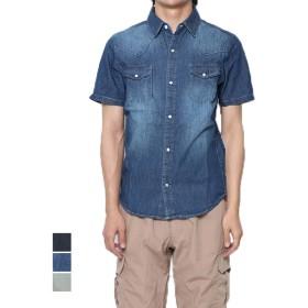 シャツ - Style Block MEN シャツ デニムシャツ ダンガリー 半袖 レギュラーカラー カジュアルシャツ ブリーチ 綿 コットン100% トップス メンズ ブリーチネイビー ブルー 夏先行