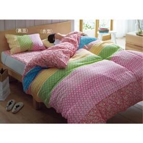 枕カバー 洗いざらしのダブルガーゼ - セシール ■カラー:ローズピンク ライトターコイズ ■サイズ:L(63×43cm)
