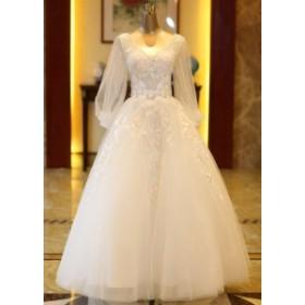 ウエディングドレス レディース 長袖 ブライダルドレス 上品な 花嫁ドレス オシャレ ウエディング 素敵な プリンセスドレス 演奏会ドレス