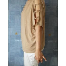 半袖段ばしごスリットボートネックラグランTシャツ
