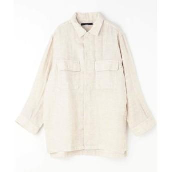 (Grand PARK/グランドパーク)フラップポケット綿麻シャツ/メンズ 18ベージュ 送料無料