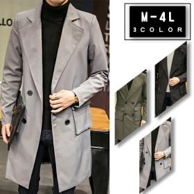 チェスターコート メンズ トレンチコート スプリングコート ジャケット アウター ミドル丈 カジュアル ビジネスコート シンプル 大きいサイズ 薄手