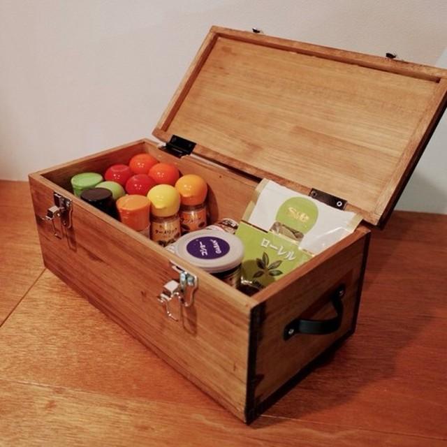 ヒノキのスパイスボックス-1段- キッチンツールボックス 調味料ボックス