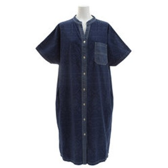【Super Sports XEBIO & mall店:トップス】インディゴ 総柄 シャツワンピース 1854006L-5-NVY