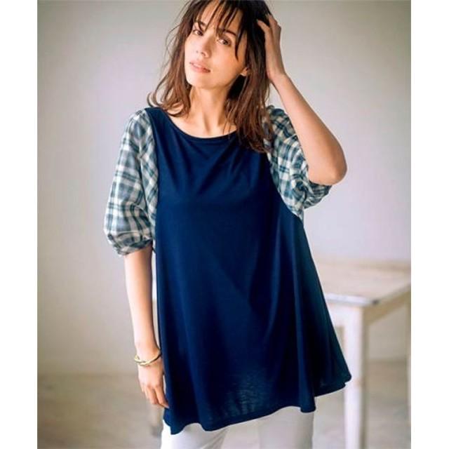 (Ranan/ラナン)異素材袖ゆるTシャツ/レディース ブルーケイ