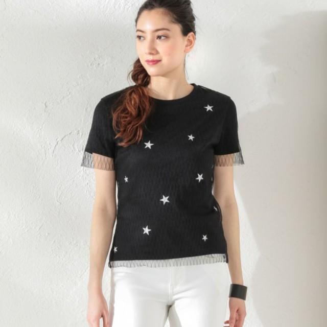 SALE【ラブレス(LOVELESS)】 【GUILD PRIME】WOMEN スターチュールレイヤードTシャツ 【GUILD PRIME】WOMEN スターチュールレイヤードTシャツ ブラック