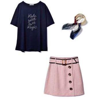 レディアゼル Tシャツ×ミニスカート×スカーフ3点セット レディース ピンク S 【REDYAZEL】