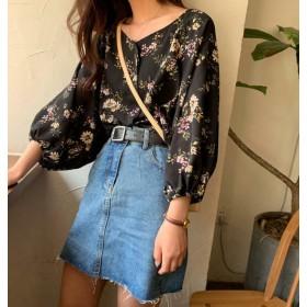 花柄 ブラウス シャツ シフォン トップス ボリューム袖 ゆったり 七分袖 レトロ 大人可愛い 韓国 オルチャン