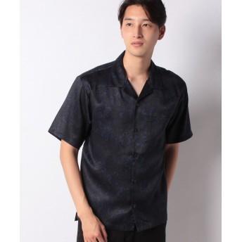 コムサイズム ダーク アロハプリント オープンカラーシャツ メンズ ネイビー M 【COMME CA ISM】
