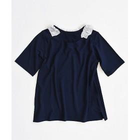 【送料無料】<BASCO> 大きいサイズ ライトップ五分袖B2 紺 襟元フリルのカットソー(NWK-1504)(クローバー) 紺 【三越・伊勢丹/公式】