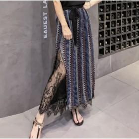 2019夏新品♪ハイウエスト ローグパンツ レディース 韓国ファッション レース付き 大人かわいい 通勤 おしゃれ