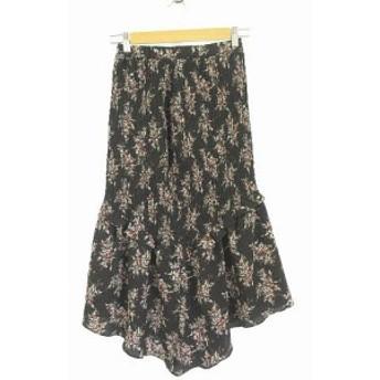 【中古】スナイデル snidel スカート フレア ロング 花柄 シャーリング 黒 F A722 レディース