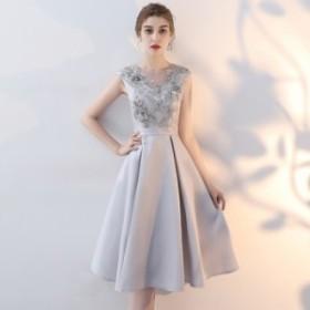 花柄刺繍がエレガントなひざ丈フレアドレスワンピース  お呼ばれ 大人かわいい ワンピース 結婚式 ドレス フォーマルドレス パーティード