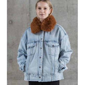 (LEVI'S OUTLET/リーバイス アウトレット)OVERSIZED SHERPA TRUCKER KILLING ME SOF/レディース ブルー