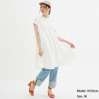 (GU)Aラインミディワンピース(半袖) OFF WHITE XL