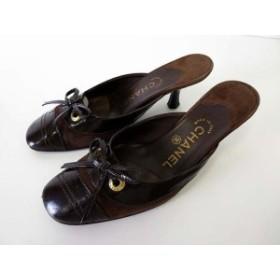 9a6a062482081f 【中古】シャネル CHANEL ミュール サンダル エナメル 本革 スエード レザー 35.5 ダークブラウン 靴