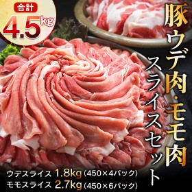 豚ウデ・モモ肉スライスセット4.5kg(都農町加工品)