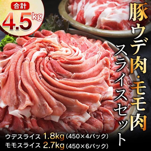 【11月配送分】豚ウデ肉・豚モモ肉スライスセット4.5kg(都農町加工品)