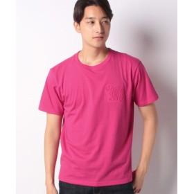 (COMME CA ISM/コムサイズム)エンボスロゴ Tシャツ/ユニセックス マゼンタ