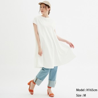 (GU)Aラインミディワンピース(半袖) OFF WHITE L