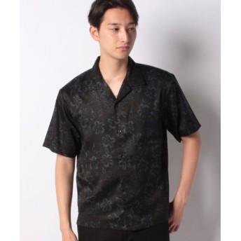 (COMME CA ISM/コムサイズム)ダーク アロハプリント オープンカラーシャツ/メンズ ブラック 送料無料