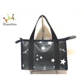 アニエスベー agnes b ハンドバッグ 黒×白 スター PVC(塩化ビニール)   スペシャル特価 20190914