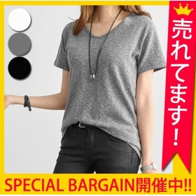 カットソー シンプル ベーシック カジュアル トップス Tシャツ 半袖 レディース (t462)(メール便送料無料)