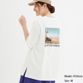 (GU)オーバーサイズT(フォト)(5分袖) OFF WHITE XL