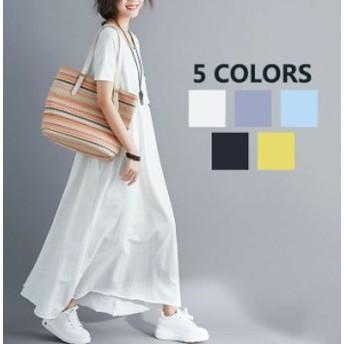 5色選択 春夏 マキシワンピース 大きいサイズ レディース 半袖 ゆったり カジュアル ワンピース 妊娠服 森ガール マタニティウェア リゾ