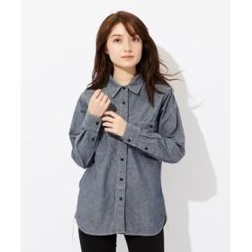 BACK NUMBER シャンブレーワークシャツ レディース 中濃色