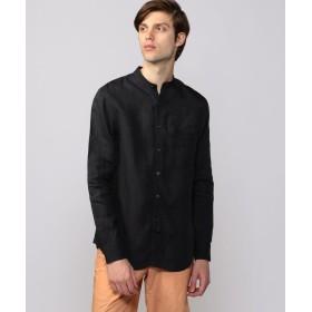 トゥモローランド 60リネン バンドカラーシャツ メンズ 19ブラック XS 【TOMORROWLAND】