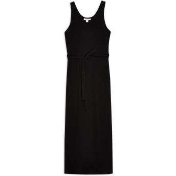 《9/20まで! 限定セール開催中》TOPSHOP レディース 7分丈ワンピース・ドレス ブラック 8 ポリエステル 70% / レーヨン 28% / ポリウレタン 2% RIBBED BELTED COLUMN DRESS