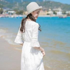 マキシ丈ワンピース ロング 半袖 袖あり ホワイト 白いワンピ 大人 レディース 水着 サマードレス