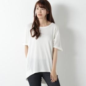 ワッフル袖ロールアップドルマンTシャツ【M~3L】