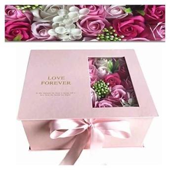 ソープフラワー 枯れない花 花束 創意ギフト 石鹼花 石鹼フラワー ラブ プレゼント バラ 大切な人へ 感謝 お礼 母の日 誕生日 恋人 記念日 バレンタインデー(ピンク Medium)