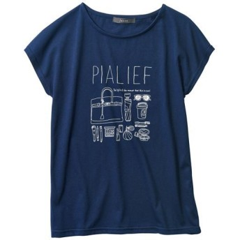 50%OFF【レディース】 フレンチスリーブプリントTシャツ - セシール ■カラー:ネイビー ■サイズ:S