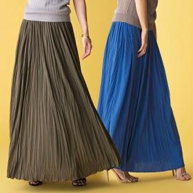 ベルーナ カットソーマキシスカート ブルー M レディーススカート 春 夏 スカート レディースファッション アパレル 通販 大きいサイズ コーデ 安い おしゃれ お洒落 30代 40代 50代 女性
