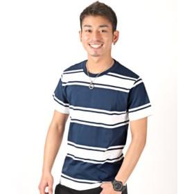 (LUXSTYLE/ラグスタイル)先染めランダムボーダー半袖Tシャツ/Tシャツ メンズ 半袖 ボーダー 半袖Tシャツ 先染め ランダム/メンズ ネイビー
