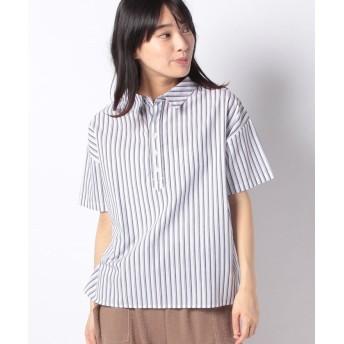 【55%OFF】 コエ ストライプワイドシャツ レディース ネイビー F 【koe】 【タイムセール開催中】