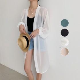 夏/新しいデザイン/シンプル/何でも似合う/シャツ/トップス/女/カレッジ風/中長デザイン/シャツ/アウターウェア/日焼け防止衣類