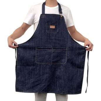 防汚デニムエプロン ポケット付き 実用 台所 料理を作つ 大工
