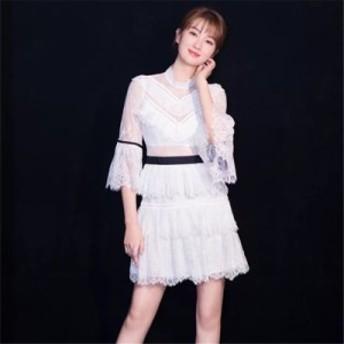 透け感がセクシー系な総レースのAラインワンピース お呼ばれ 大人かわいい ワンピース 結婚式 ドレス フォーマルドレス パーティードレ