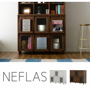 送料無料◆NEFLAS(ネフラス)ディスプレイラック(120cm幅) ホワイト/ブラウン 【インテリア】 【家具】 NF90-120F WH
