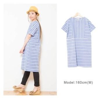 ボーダー切替シャツワンピース (ワンピース),dress