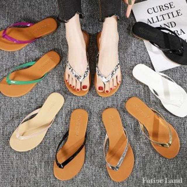 夏新作 サンダル フリップフロップサンダル ビーチサンダル 韓国 ファッション / ナチュラルフリップフロップサンダル