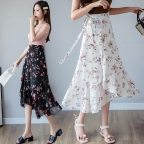 全3色 韓国のファッション新作 ★今季花柄 プリントハイウエストスカートAラインスカートの中でロングスカート ヴィンテージ