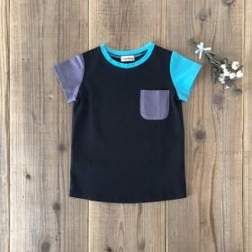 *カラー切り替えTシャツ* ブラック 80・90・100・110・120サイズ オーガニックコットン