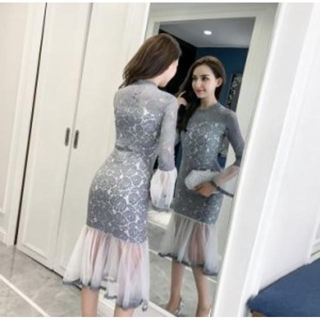 レース切替の透け感で大人セクシーに ワンピース ドレス ミディアム丈 フリル タイト 結婚式 パーティー