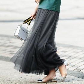 ベルーナ ロングチュールスカート ブラック M レディーススカート 春 夏 スカート レディースファッション アパレル 通販 大きいサイズ コーデ 安い おしゃれ お洒落 30代 40代 50代 女性